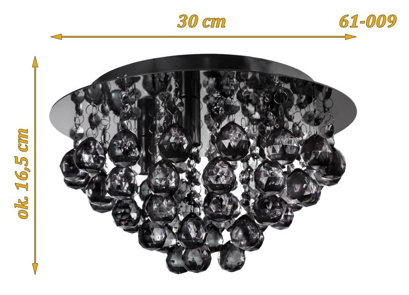 Nowoczesna Lampa Kryształowa Plafon Glamour Czarny